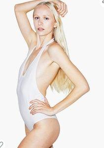 American Apparel White Halter Bodysuit Size Small